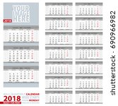 2018 calendar  design in gray... | Shutterstock .eps vector #690966982
