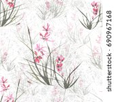 seamless floral retro pattern ... | Shutterstock . vector #690967168