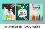 back to school banner design... | Shutterstock .eps vector #690970555