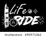 moto travel slogan symbol  text.... | Shutterstock .eps vector #690971362