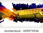 Beautiful Man Playing Guitar O...