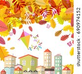 autumn scene with falling... | Shutterstock .eps vector #690974152