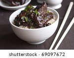 mini spare pork ribs in a... | Shutterstock . vector #69097672