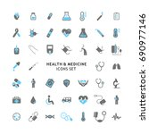 vector icons set of health and... | Shutterstock .eps vector #690977146