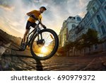 bicycle rider  cycle in city... | Shutterstock . vector #690979372