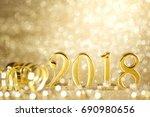new year 2018 decoration closeup | Shutterstock . vector #690980656