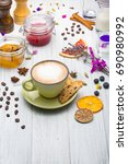 cup of coffee with beans and... | Shutterstock . vector #690980992