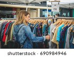 vintage clothes stall in... | Shutterstock . vector #690984946