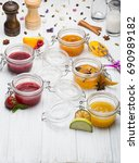 jars with various jams and... | Shutterstock . vector #690989182