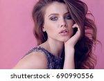 fashion photo of beautiful... | Shutterstock . vector #690990556