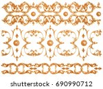 gold ornament on a white... | Shutterstock . vector #690990712