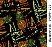 embroidery pineapple seamless... | Shutterstock .eps vector #690994126
