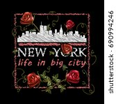 embroidery new york skyline and ...   Shutterstock .eps vector #690994246
