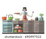 a woman in an apron preparing...   Shutterstock .eps vector #690997522