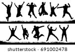 people in a jump silhouette set | Shutterstock .eps vector #691002478