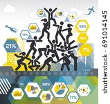 human pyramid info graphic | Shutterstock .eps vector #691014145