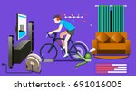modern home exercise concept.... | Shutterstock .eps vector #691016005
