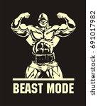 bodybuilder  double biceps ... | Shutterstock .eps vector #691017982