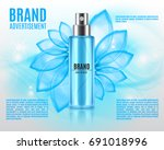 cosmetic ads template. spray... | Shutterstock .eps vector #691018996
