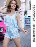 fashion outdoor photo of... | Shutterstock . vector #691020082