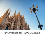 duomo and lamp post at... | Shutterstock . vector #691022686