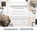 qualification certificate of... | Shutterstock .eps vector #691025746