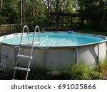 above ground swimming pool with ... | Shutterstock . vector #691025866