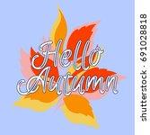 hello autumn blue postcard | Shutterstock .eps vector #691028818