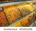 show window with pistachios... | Shutterstock . vector #691031206