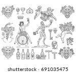 bundle of wine badges and icons ... | Shutterstock .eps vector #691035475