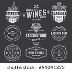 set a of wine badges and icons...   Shutterstock .eps vector #691041322