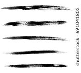 set of black ink brush strokes. ... | Shutterstock .eps vector #691041802