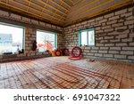 pipefitter installing system of ... | Shutterstock . vector #691047322