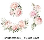 Stock photo watercolor flowers floral illustration in pastel colors bouquet of flowers pink rose leaf and 691056325