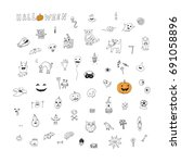 icons and halloween objects... | Shutterstock .eps vector #691058896