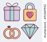 wedding related icons | Shutterstock .eps vector #691069942