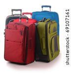 Five travel suitcases isolated on white - stock photo