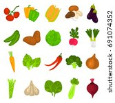 color vegetables icons set for... | Shutterstock .eps vector #691074352