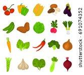 color vegetables icons set for... | Shutterstock .eps vector #691074352