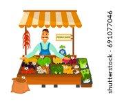 friendly vegetable shop color... | Shutterstock .eps vector #691077046