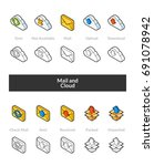 set of isometric icons in... | Shutterstock .eps vector #691078942