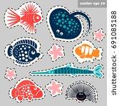 marine creatures sticker set  ... | Shutterstock .eps vector #691085188