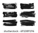 set of black paint  ink brush... | Shutterstock .eps vector #691089196