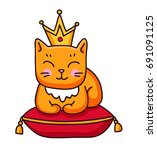 Ginger Cat With Crown Sitting...