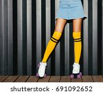close up. girl posing in a... | Shutterstock . vector #691092652