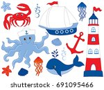 vector nautical set with crab ... | Shutterstock .eps vector #691095466