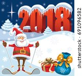 skiing santa claus in new year... | Shutterstock .eps vector #691096582