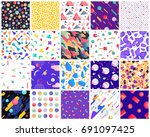 Stock vector geometric seamless patterns colorful geometric background set you can use these patterns as 691097425