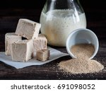 different types yeast. fresh... | Shutterstock . vector #691098052