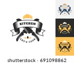 vintage kitchen logo design...   Shutterstock .eps vector #691098862